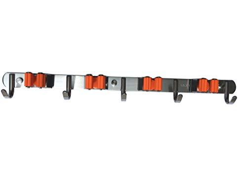 - KKhouse 1pack Heavy Duty 304 Stainless Steel Mop Broom Holder Wall Mount with Hook Gripper Slot, Garden Storage Rack Mop Broom Handle Kitchen Storage Garage Garden Tools Organizer (4position 5hooks)