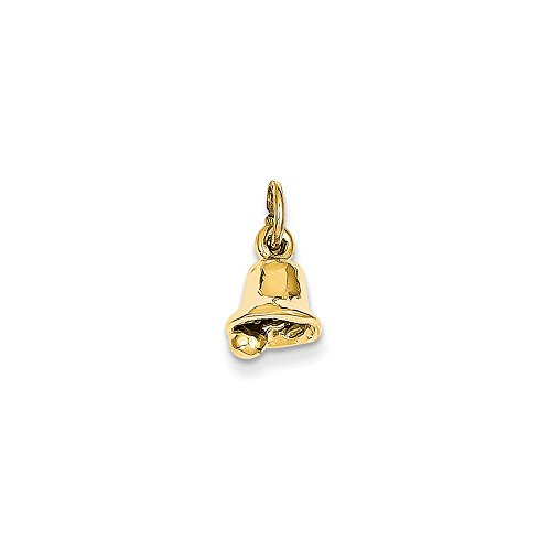 14k Yellow Gold Polished Moveable Wedding Bell Charm - Measures 14.9x7.9mm