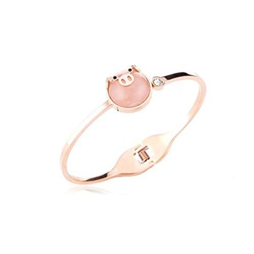 - GJ New Titanium Steel Pink Pig Bracelet Female Simple Hipster People Life Year Rose Gold Bracelet Female Jewelry Couple Bracelet (Color : Gold)