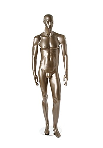 Newtech Display MAM-S2-214/SMPE Faceless Male Mannequin, Glossy Pewter by Newtech Display