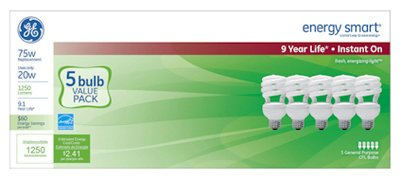 GE Lighting Energy Smart Spiral CFL, 825-Lumen T3 Spiral Light Bulb with Medium Base