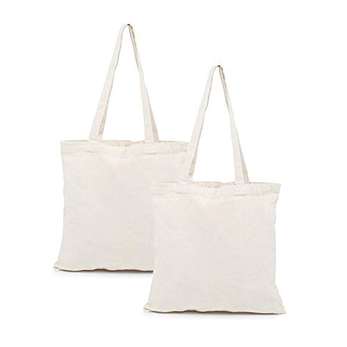 LEMESO Natural Canvas Tote Bags with Heavy Duty Long Handle for Painting and DIY Crafting, Using as Grocery & Shopping Bag, 4th July Decorations, White - 2 ()