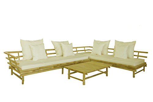 Bamboo Set Sofa - Zew SET-010 Bamboo Sectional Sofa with Coffee Table