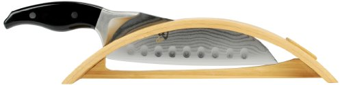 Shun DM0523 Ken Onion Hollow-Ground Santoku Knife With Arch Bamboo Stand, 7-Inch