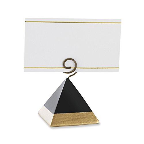Kate Aspen Gold Dipped Pyramid Place Card Holder (Set of 6) Placecard, Black and Gold