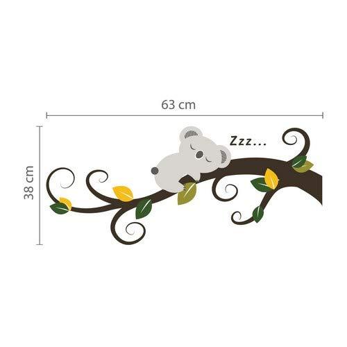 Walplus Stickers muraux 58/x 58/x 55/cm Koala endormi et branche darbre amovible en vinyle autocollant murale Art Stickers D/écoration DIY Salon Chambre D/écor Papier Peint pour enfants Chambre cadeau multicolore