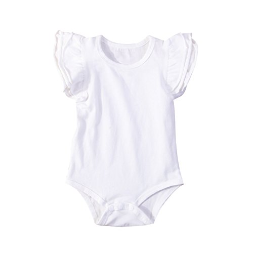 INHoney Baby Girl Basic Short Sleeve Ruffle Bodysuit Cotton Romper Shirt Top Clothes (18-24 Months, True - Sleeve Shirt Ruffle Short