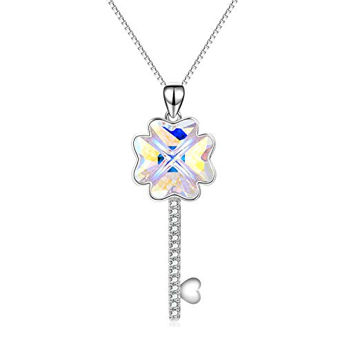 Silver Clover Key Pendant - AOBOCO Sterling Silver Key Necklace The Key to Your Heart Pendant Four-Leaf Clover Necklace with Swarovski Crystals,Fine Jewelry Gift for Women Girls