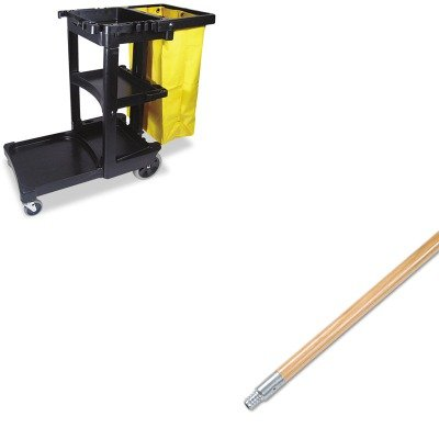 KITBWK136RCP617388BK - Value Kit - Boardwalk Metal Tip Threaded Hardwood Broom Handle (BWK136) and Rubbermaid Cleaning Cart with Zippered Yellow Vinyl Bag, Black (RCP617388BK) by Boardwalk