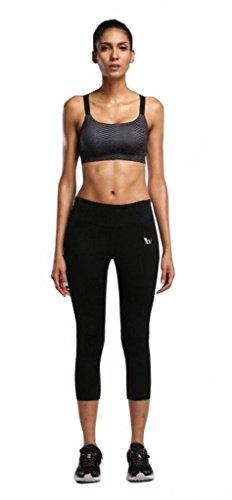 COOLOMG Damen Trainingshose 3 4 Sport Leggings Base Layer Body Support Yoga Fitness RunningSchwarz Blau M