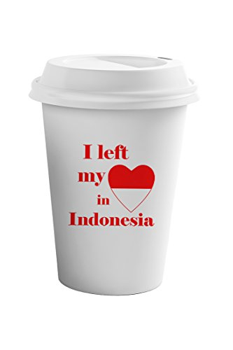 Style In Print I Left My Heart In Indonesia Coffee Ceramic Travel Tumbler Mug 11oz by Style in Print