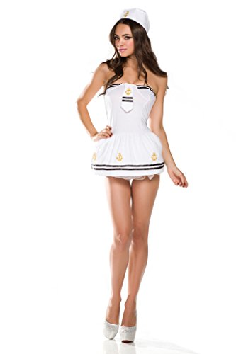 [Ninimour Womens Sailor Marine Pin Up Girl Women Adult Costume Halloween Fancy Party Dress] (Pin Up Girl Costume Halloween)