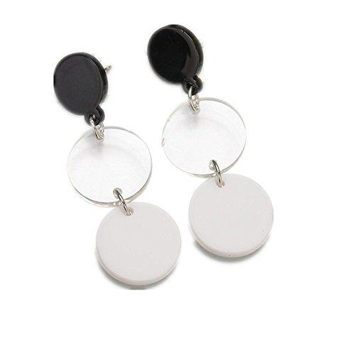 Round Circle Earrings Pendant Female Acrylic Drop Earrings for (Acrylic White Earrings)