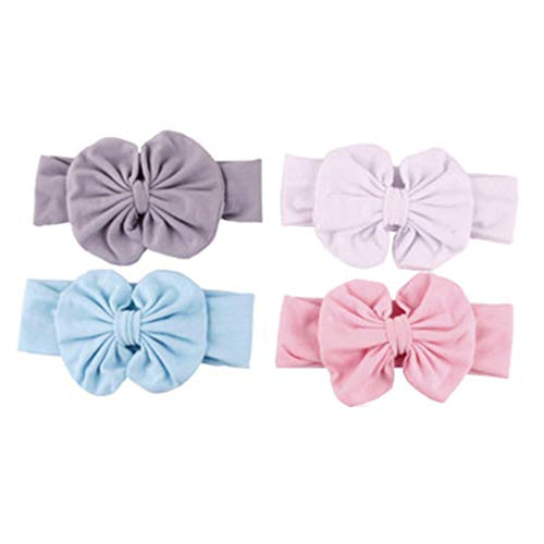 (Peach & Pepper Toddler Baby Girls 4 PCS Stretchy Cotton Jersey Bow Knot Front Solid Color Headband Headwrap Hairband Turban)