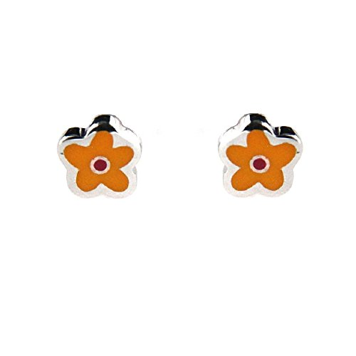 Flower Prada - Agatha Ruiz de la Prada Sterling Silver yellow enamel flower mini post earrings