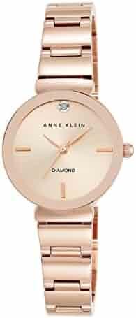 Anne Klein Women's AK/2434RGRG Diamond-Accented Rose Gold-Tone Bracelet Watch