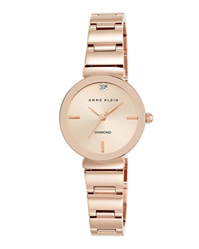 (Anne Klein Women's AK/2434RGRG Diamond-Accented Rose Gold-Tone Bracelet Watch)