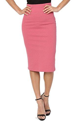 TheMogan Junior's Curvy 4 Way Stretch Ponte High Waist Midi Pencil Skirt Dusty Rose M (Tight Skin Skirts)