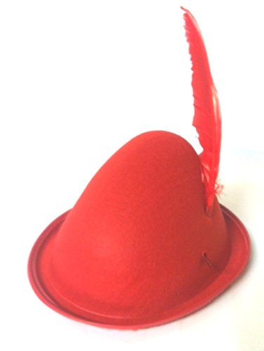 Red Alpine Felt Hats Full Head Size with Red Turkey Feather (Unisex Felt Hat)