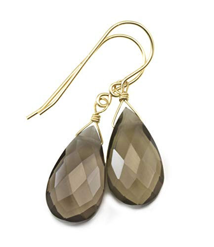 14k Yellow Gold Filled Smoky Quartz Earrings Faceted Teardrops Simple Brown Grey Smokey Dangle -