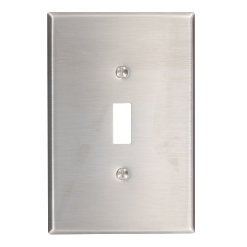Leviton 84101-40 1-Gang Toggle Device Switch Wallplate, Oversized, Device Mount, Stainless Steel