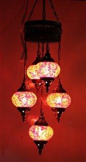 Mosaic Standing Floor 5 Globe, Handmade Authentic Tiffany Lighting Moroccan Lamp Glass Stunning Bedside Night Lights Brass&Glass Ottoman Turkish Style