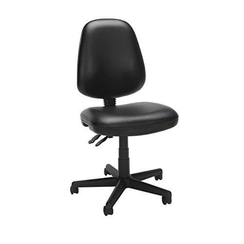 OFM Straton Series Armless Swivel Task Chair, Anti-Microbial/Anti-Bacterial Vinyl, Mid Back, in Black (119-VAM-606)