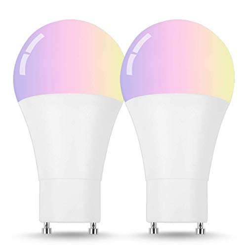 LOHAS GU24 LED Bulb, A19 Smart Wi-Fi Light, Color Changing Multicolor Dimmable Bulbs, 60W Equivalent, Voice Remote Controlled Smart Lighting, Compatible with Amazon Alexa and Google Assistant(2Pack)