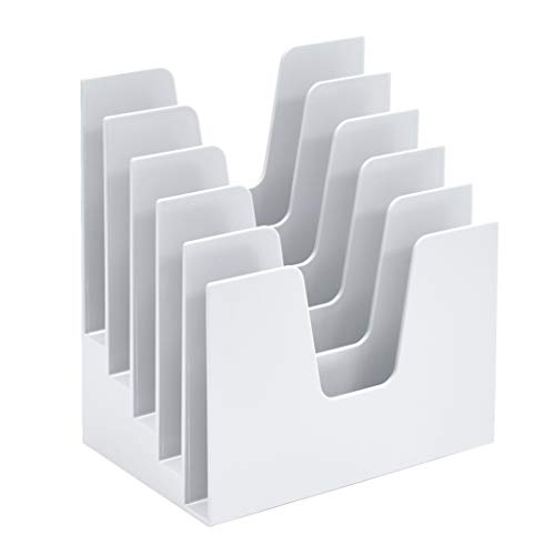 Acrimet Incline Desk File Sorter Step 5 Sections Heavy Duty (White Color)