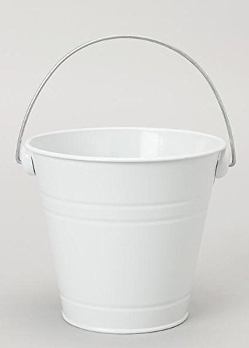 (Metal Flower Pail Bucket in White with Handle - 6.25