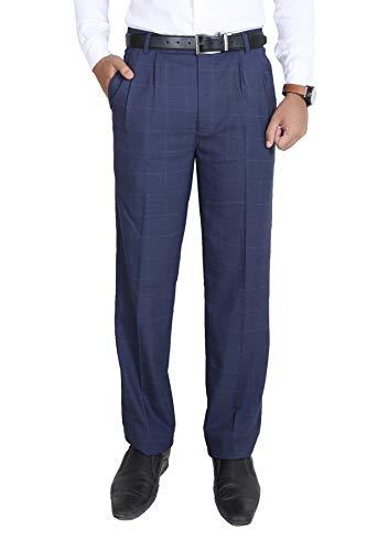 Particle Men's Pleat-Front Formal Trousers – Blue Checks (Waist Sizes 32-46)