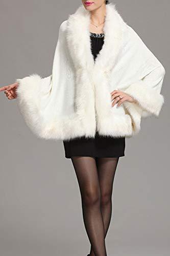 Cardigan White Chale Manteaux Hiver Cape Capuche Fourrure Femme Luxe Faux Tw8qp7wxf