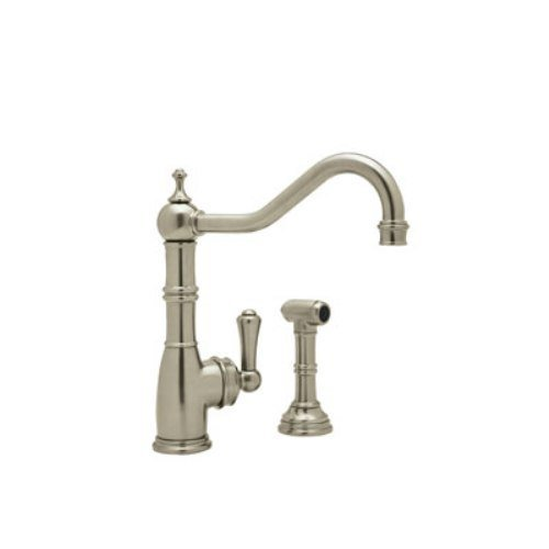 Rohl U.4746STN-2 Perrin and Rowe Single Hole Single Lever Aquitaine Kitchen Faucet with Sidespray Rinse in Satin (Perrin And Rowe Nickel Handles)