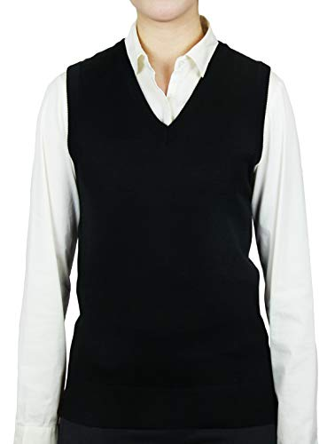Blue Ocean Ladies Classic Sweater Vest-Large Black ()