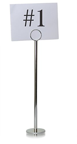 Tiger Chef Silver Table Number Holder Table Number Stands Place Card Holders Menu Holder, Sturdy Quality 12-inch (20, 12 Inch) Table Number Holders