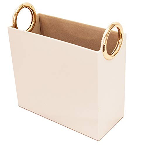 Blu Monaco PU Leather Magazine Basket - Cream and Gold - Mail Basket - Bathroom Magazine Rack - Narrow Basket - Decorative Storage Bins - Gold Magazine Rack