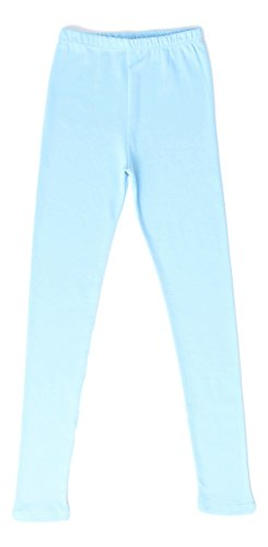 Tights Baby Blue - CAOMP Girls'%100 Organic Cotton Leggings for School Play (3-4, Light Blue)