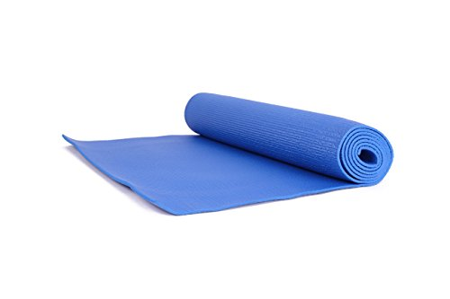 SUESPORT Deluxe Yoga & Pilates Mat, 74-Inch (188cm) Extra Long by 1/4-Inch (6mm) Extra Thick, With Carrying Strap, High Density Anti-Tear, Blue