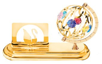 - 24K Gold Plated Business Card Holder With A Spinning Globe and Assorted Color Crystals