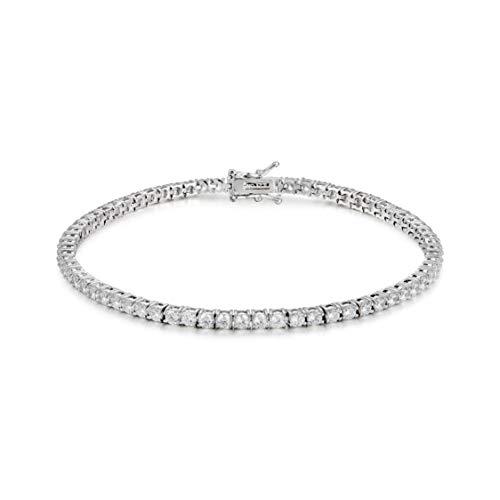 (Divine Elegance Women's 3mm Round CZ Tennis Bracelet, Silver )