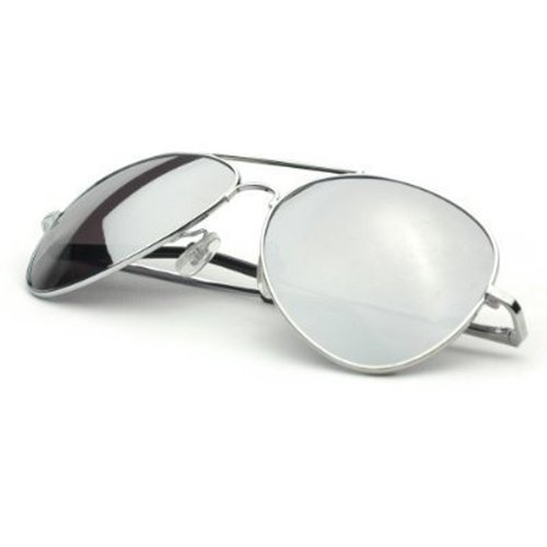 Classic Tear Drop Mirror Lens Aviator Sunglasses Gift Box (3 Silver, Silver) (Shades 3 Teardrop Glass)