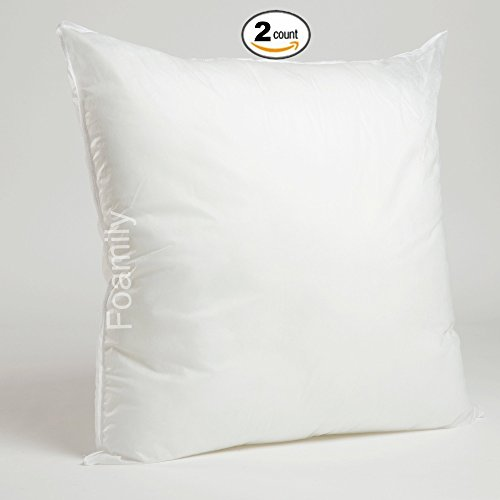Set of 2 - 26 x 26 Premium Hypoallergenic Stuffer Pillow Insert Sham Square Form Polyester, Standard / White - MADE IN USA (Pillow 26 X 26 Form)