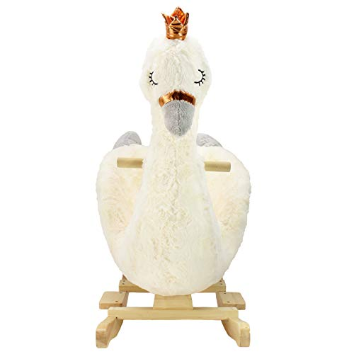 (Animal AdventureReal Wood Ride-On Plush RockerWhite SwanPerfect for Ages 3+)
