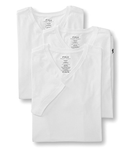( Polo Ralph Lauren Slim Fit V-Neck Undershirts 3-Pack White Small)