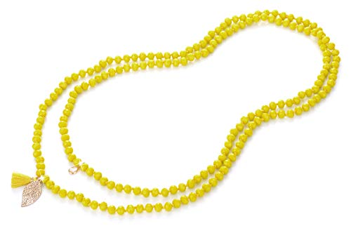 Jewelry Set Beaded Yellow (NOVAS Long Bead Necklace for Women in 60 Inches Knotted Strand w/Premium Glass Beads(Yellow))
