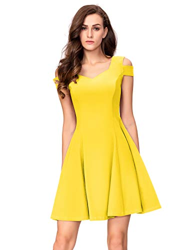 InsNova Women's Petite Cold Shoulder Cocktail Skater Dresses for Party Wedding (Small, Yellow) (Best Wedding Dresses For Short Women)
