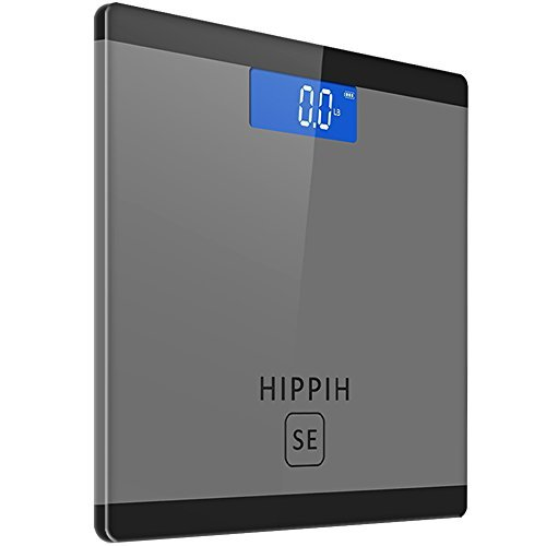 Hippih 400lb / 180kg Electronic Bathroom Scale with Tempered Right Angle Glass Balance Platform and Advanced Step-On Technology, Digital Weight Scale has Large Easy Read Backlit LCD Display D-014