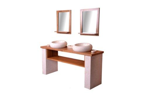 DIVERO Badmöbel, Waschtisch aus Teak mit zwei Aufsatz Handwaschbecken und zwei Spiegeln Doppelwaschtisch