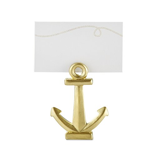 (Kate Aspen 25137GD Gold Nautical Anchor Place Card Holder (Set of 6), One Size,)