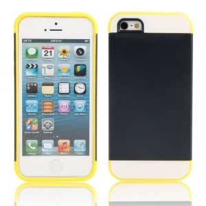2-in-1 Protective TPU + PC Case for iPhone 5/5S Yellow + Black